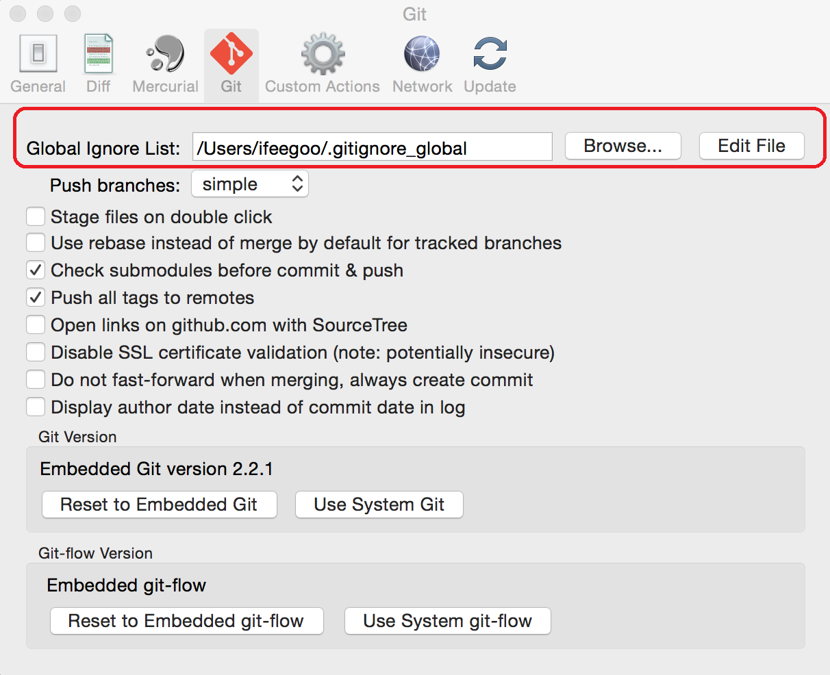 how to change a git ignore file